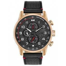 Citizen Mens Primo Chronograph Black Leather Strap Watch CA0683-08E