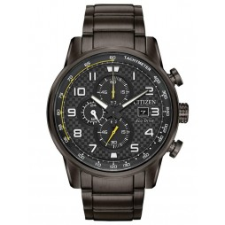 Citizen Mens Primo Chronograph Black Steel Bracelet Watch CA0687-58E
