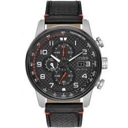 Citizen Mens Primo Chronograph Black Leather Strap Watch CA0681-03E