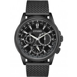 Citizen Mens Calendrier Black Mesh Bracelet Watch BU2025-76E