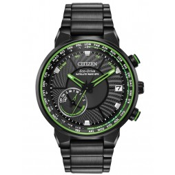Citizen Mens Satellite Wave GPS Freedom Black And Green Dial Bracelet Watch CC3035-50E