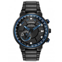 Citizen Mens Satellite Wave GPS Freedom Black And Blue Dial Bracelet Watch CC3038-51E