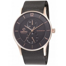 Obaku Mens Rose Gold Plated Mesh Bracelet Watch V157GMVBMB