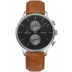 Obaku Mens Black Brown Leather Strap Watch V196GUCURZ