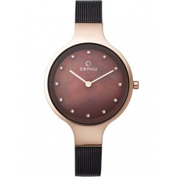 Obaku Ladies Bronze Tone Mesh Bracelet Watch V173LXVNMN