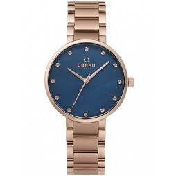 Obaku Ladies Rose Gold Plated Blue Bracelet Watch V189LXVLSV