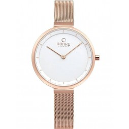 Obaku Blomme Rose Gold Plated Mesh Bracelet Watch V225LXVIMV