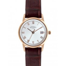 Rotary Ladies Rose Gold Plated Brown Strap Watch LS02754-21