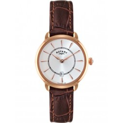 Rotary Ladies Rose Gold Brown Strap Watch LS02919/03