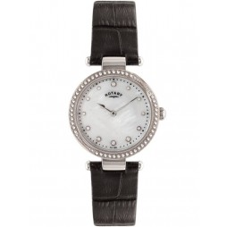 Rotary Ladies Black Stone Set Strap Watch LS00511/41