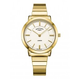 Rotary Ladies London White Dial Gold Plated Expandable Bracelet Watch LB00766/03