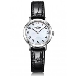Rotary Ladies Windsor Stainless Steel Mother Of Pearl Dial Black Leather Strap Watch LS05300/68