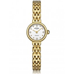 Rotary Ladies Balmoral Gold Plated Diamond Set White Dial Bracelet Watch LB05153/02/D