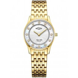 Rotary Ladies Ultra Slim Gold PVD Mother of Pearl & Diamond Bracelet Watch LB08303/41/D