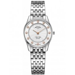 Rotary Ladies Ultra Slim White Dial & Diamond Bracelet Watch LB08300/01/D