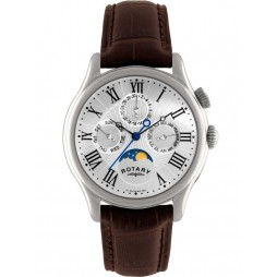 Rotary Mens Moonphase Leather Strap Watch GS02838-01