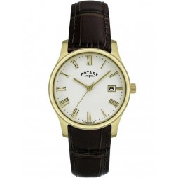 Rotary Mens Gold Plated Leather Watch