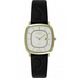 Rotary Mens Gold Plated Black Strap Watch GS08102-03