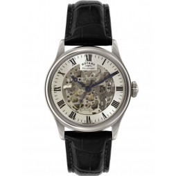 Rotary Mens Silver Skeleton Watch GS02940-06