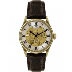 Rotary Mens Gold Skeleton Watch GS02941/03