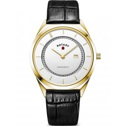 Rotary Mens Gold Plated Limited Edition Poppy Black Leather Strap Watch BRITISHLEGION2