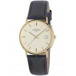 Rotary Mens 9ct Gold Strap Watch GS11476-03