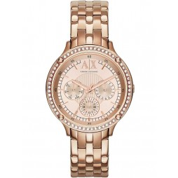 Armani Exchange Ladies Rose Gold Plated Bracelet Watch AX5406