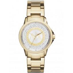 Armani Exchange Ladies Gold Plated Stone Set Bracelet Watch AX4321