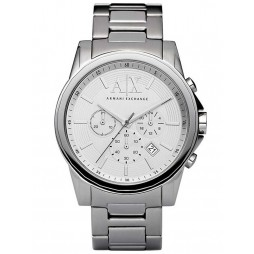 Armani Exchange Mens Silver Chronograph Bracelet Watch AX2058