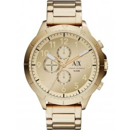 Armani Exchange Mens Gold Plated Chronograph Bracelet Watch AX1752