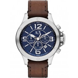 Armani Exchange Mens Blue Dial Chronograph Brown Leather Strap Watch AX1505