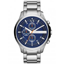 Armani Exchange Mens Silver Blue Dial Chronograph Bracelet Watch AX2155