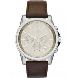 Armani Exchange Mens Brown Chronograph Leather Strap Watch AX2506