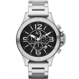 Armani Exchange Mens Silver Chronograph Black Dial Bracelet Watch AX1369