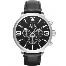 Armani Exchange Mens Black Chronograph Leather Strap Watch AX1371