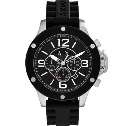 Armani Exchange Mens Black Chronograph Rubber Strap Watch AX1522