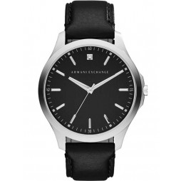 Armani Exchange Mens Black Leather Strap Watch AX2182