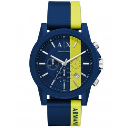 Armani Exchange Mens Blue and Yellow Strap Watch AX1332