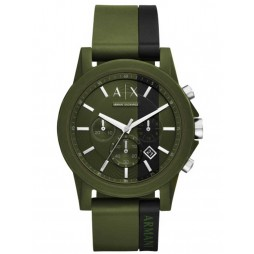 Armani Exchange Mens Green Rubber Strap Watch AX1333
