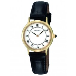 Seiko Ladies Discover More Gold Plated Black Leather Strap Watch SFQ830P1