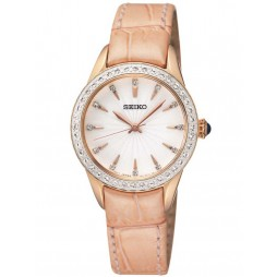 Seiko Ladies Leather Strap Watch SRZ388P1