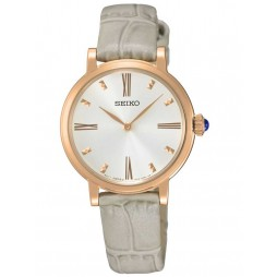 Seiko Ladies Discover More Rose Gold Plated Grey Leather Strap Watch SFQ812P1