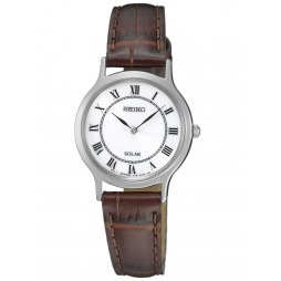 Seiko Ladies Discover More Solar Brown Leather Strap Watch SUP303P1