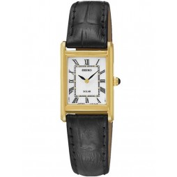 Seiko Ladies Discover More Solar Rectangular Gold Plated Leather Strap Watch SUP250P1