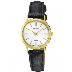 Seiko Ladies Discover More Solar Gold Plated Leather Strap Watch SUP300P1