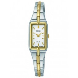 Seiko Ladies Discover More Solar Rectangular Two Tone Bracelet Watch SUP272P9