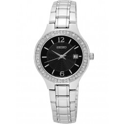 Seiko Ladies Discover More Stone Set Black Bracelet Watch SUR785P1