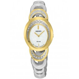 Seiko Discover More Solar Oval Two Tone Bracelet Watch SUP296P1
