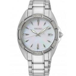 Seiko Ladies Mother Of Pearl Dial Diamond Set Bezel Stainless Steel Bracelet Watch SKK883P1