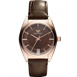 Emporio Armani Mens Brown Leather Strap Watch AR0378